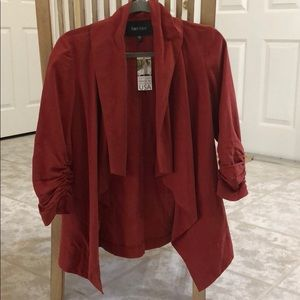NWT burnt orange Karen Kane flowy rouched blazer